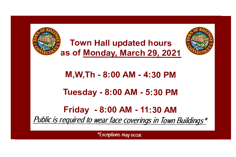 Updated hours for town hall