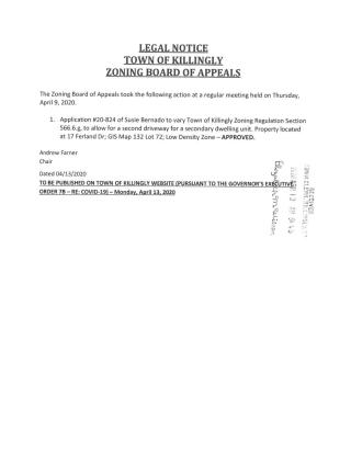 Legal Notice for ZBA Action Taken (4-9-20)